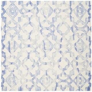 Safavieh Handmade Dip Dye Watercolor Vintage Ivory/ Blue Wool Rug (7' Square)