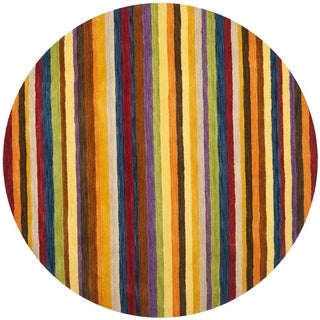 Safavieh Handmade Himalaya Red/ Multicolored Stripe Wool Gabbeh Rug (8' Round)