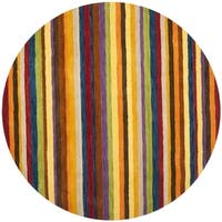 Safavieh Handmade Himalaya Red/ Multicolored Stripe Wool Gabbeh Rug - 8' x 8' Round