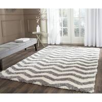"Safavieh Montreal Shag Ivory/ Grey Stripe Polyester Rug - 6'7"" x 6'7"" square"