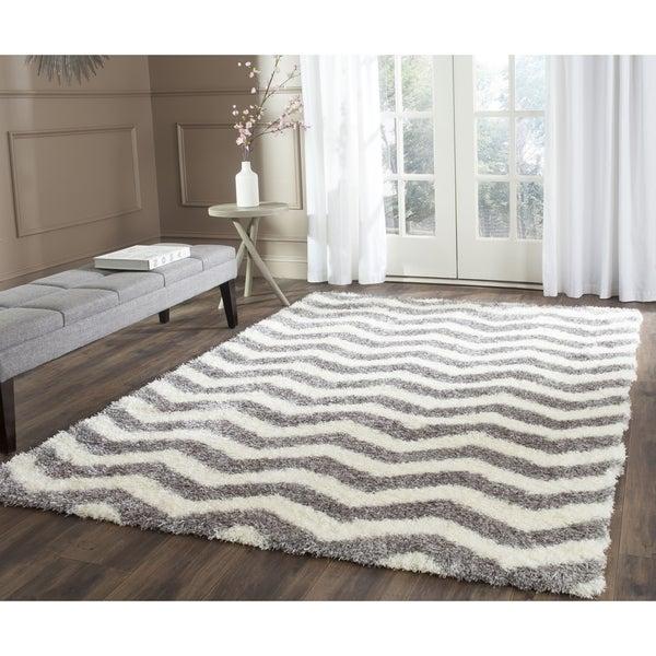 Safavieh Montreal Shag Ivory/ Grey Stripe Polyester Rug - 6'7 Square