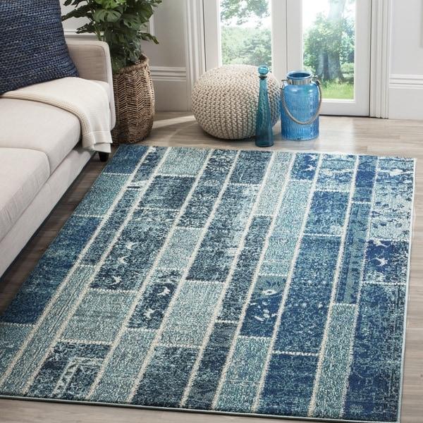 Safavieh Monaco Patchwork Blue/ Multicolored Rug - 8' x 11'