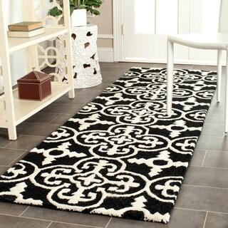 Safavieh Hand-Tufted Cambridge Black/ Ivory Wool Rug (2'6 x 10')