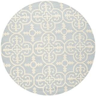 Safavieh Handmade Cambridge Lucindy Modern Wool Rug (6 x 6 Round - Light Blue/Ivory)