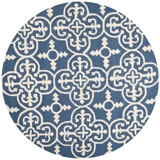 Safavieh Handmade Cambridge Lucindy Modern Wool Rug (8 x 8 Round - Navy/Ivory)