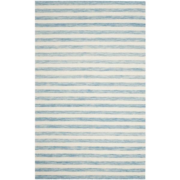 Safavieh Hand-Woven Dhurries Aqua/ Ivory Wool Rug - 8' x 10'