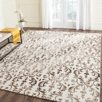 Safavieh Handmade Dip Dye Watercolor Vintage Ivory/ Chocolate Wool Rug (8' x 10')