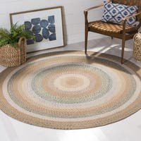 Safavieh Hand-Woven Braided Tan/ Multi Rug (4' Round)