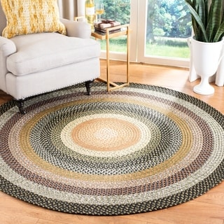 Safavieh Hand-Woven Braided Blue/ Multi Rug (4' Round)