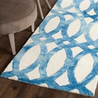 Safavieh Handmade Dip Dye Watercolor Vintage Ivory/ Blue Wool Rug (2'3 x 6')