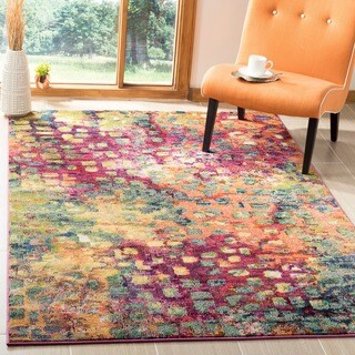 Safavieh Monaco Abstract Watercolor Pink/ Multi Distressed Rug (11' x 15') - 11' x 15'