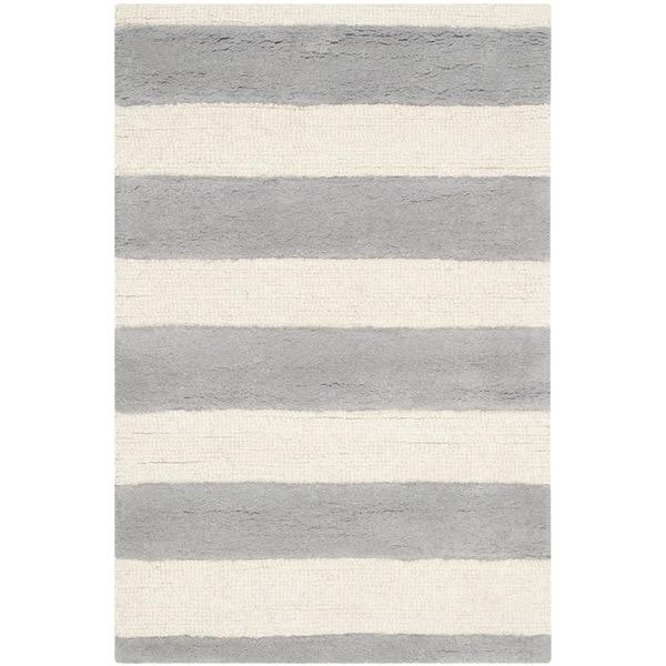 Safavieh Hand-Tufted Cambridge Grey/ Ivory Wool Rug - 2'6 x 4'