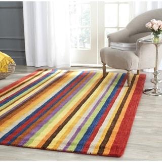 Safavieh Handmade Himalaya Red/ Multicolored Stripe Wool Gabbeh Area Rug (11' x 15')