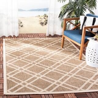 Safavieh Indoor/ Outdoor Courtyard Brown/ Bone Rug (6'7 x 9'6)