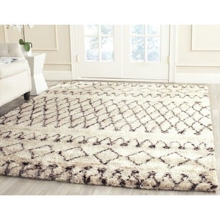 Safavieh Hand-Tufted Casablanca Shag White/ Black N.Z. Wool Rug (11' x 15')