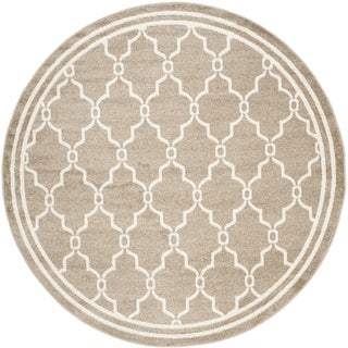 Safavieh Indoor/ Outdoor Amherst Wheat/ Beige Rug (5' Round)