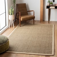 Safavieh Casual Natural Fiber Natural and Ivory Border Seagrass Rug - 10' x 10' square