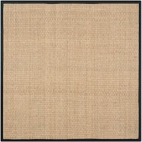 Safavieh Natural Fiber Marina Natural/ Black Seagrass Rug - 10' x 10' Square