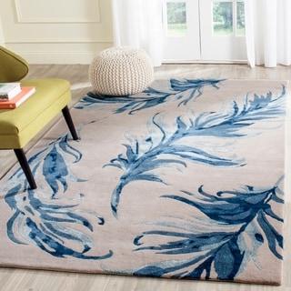 Safavieh Hand-Tufted Allure Beige/ Blue Wool Rug (5' x 8')