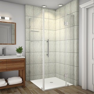 Aston Avalux GS 34-in x 34-in x 72-in Completely Frameless Shower Enclosure w. Glass Shelves in Chrome
