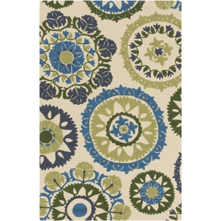 Hand-Hooked Lydney Medallion Indoor/ Outdoor Area Rug (5 x 76 - Blue/Green)