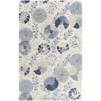 Hand-Tufted Faye Floral New Zealand Wool Area Rug - 5' x 8'