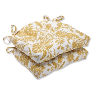 Pillow Perfect Ananya Yellow Reversible Chair Pad (Set of 2)