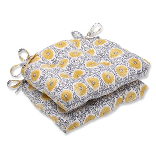 Pillow Perfect Riya Yellow Reversible Chair Pad (Set of 2)