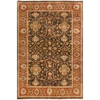 Hand-Knotted Lena Border New Zealand Wool Rug (9' x 13')
