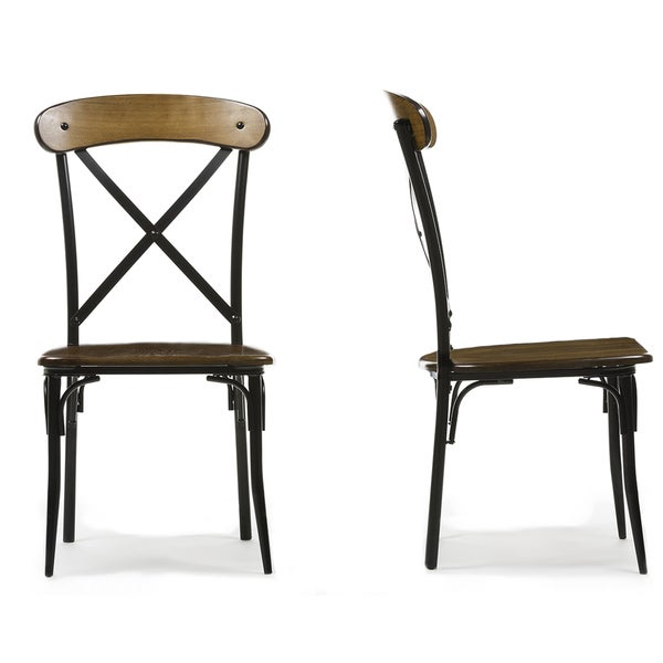 Set Of 2 Broxburn Wood And Metal Dining Chair Free Shipping Today Oversto