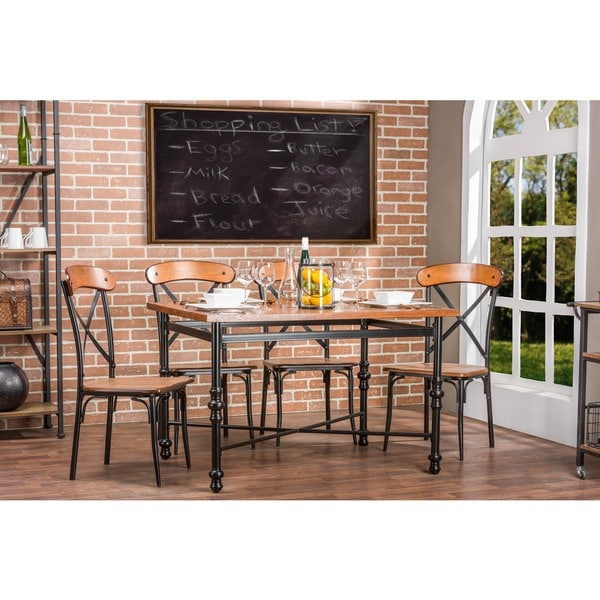 Broxburn wood and metal dining table free shipping today for Dining room tables home goods