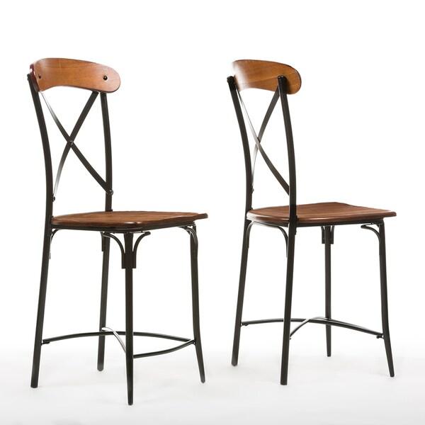 Set Of 2 Broxburn Wood And Metal Counter Stool Free