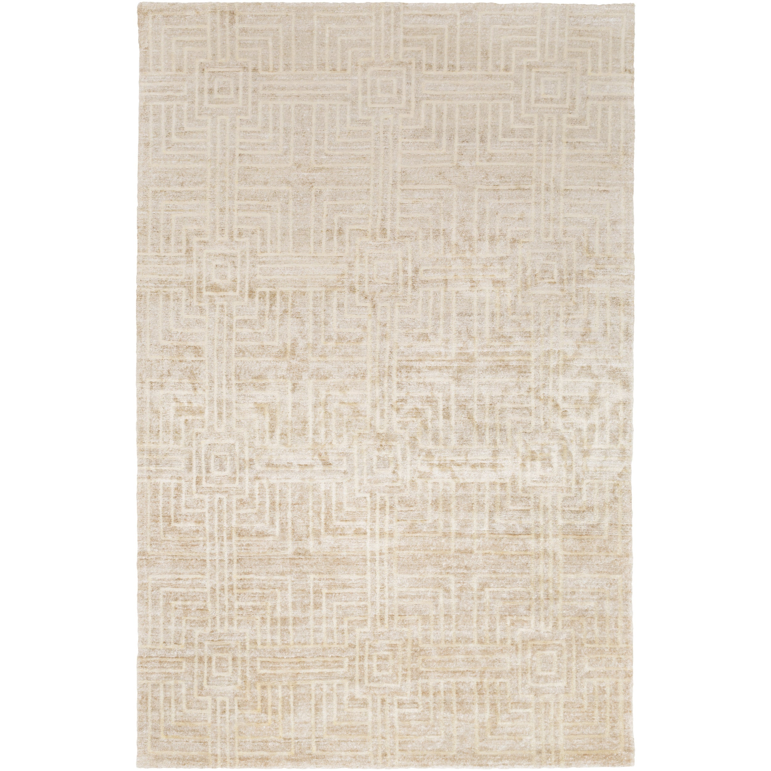 Hand Knotted Mae Geometric Rayon From Bamboo Silk Area Rug 5 X 8