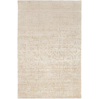 Hand-Knotted Mae Geometric Rayon from Bamboo Silk Rug (5' x 8')