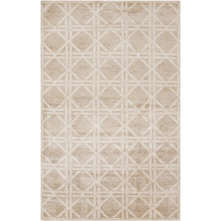 Hand-Knotted Mia Geometric Viscose Rayon from Bamboo Rug (8' x 11')