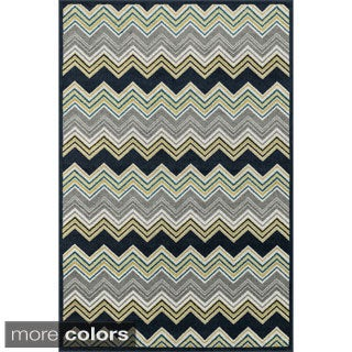 Indoor/ Outdoor Palm Chevron Striped Rug (2'3 X 3'9)