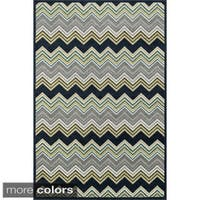 Indoor/ Outdoor Palm Chevron Striped Rug - 3'11 X 5'10