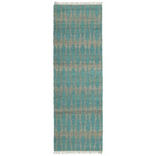 Handmade Natural Teal Fiber Canyon Rug (2'0 x 6'0)