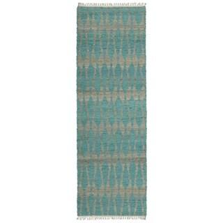 Handmade Teal Natural Fiber Canyon Rug (2'6 x 8'0)