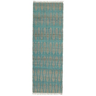 Handmade Natural Fiber Canyon Teal Rug (2'0 x 6'0)