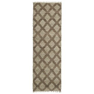 Handmade Natural Fiber Canyon Chocolate Lattice Rug (2'6 x 8'0)