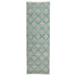 Handmade Natural Fiber Canyon Teal Lattice Rug (2'0 x 6'0)