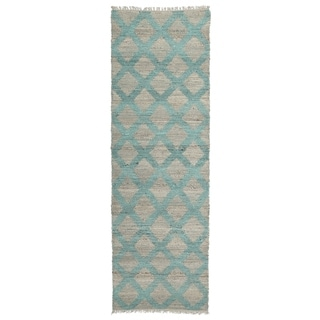 Handmade Natural Fiber Canyon Teal Lattice Rug (2'6 x 8'0)