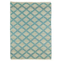 Handmade Natural Fiber Canyon Teal Lattice Rug - 3'6 x 5'6