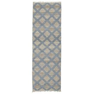 Handmade Natural Fiber Canyon Slate Lattice Rug - 2' x 6'