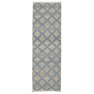 Handmade Natural Fiber Canyon Slate Lattice Rug (2' x 6')