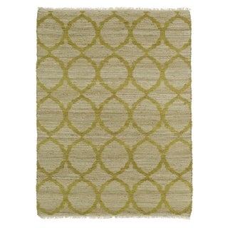 Handmade Natural Fiber Canyon Wasabi Lattice Rug (7'6 x 9'0)