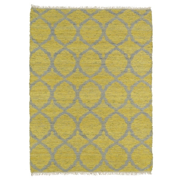 Handmade Natural Fiber Canyon Yellow Lattice Rug