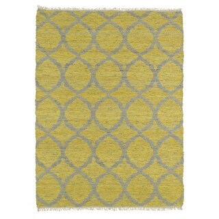 Handmade Natural Fiber Canyon Yellow Lattice Rug (2'0 x 3'0)
