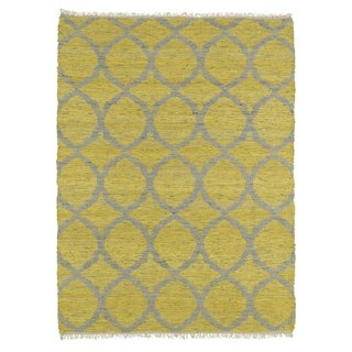 Handmade Natural Fiber Canyon Yellow Lattice Rug (7'6 x 9'0)